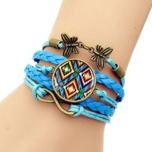Boho Tassel Faux Leather Braided Aztec Bracelet